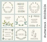 vector set  floral wreath and... | Shutterstock .eps vector #301036226