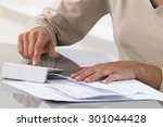 woman working with documents... | Shutterstock . vector #301044428