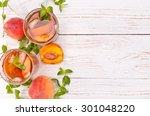 ice tea with peach. | Shutterstock . vector #301048220