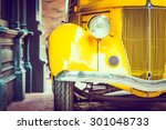 Stock photo headlight lamp vintage car vintage filter effect 301048733