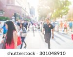 blur people at orchard road in... | Shutterstock . vector #301048910