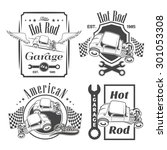 Set Of Hot Rod Labels  Emblems...