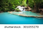 green forest and mountain river ... | Shutterstock . vector #301055270