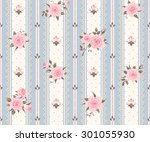 Vintage Wedding Invitation Seamless Striped Pattern With Pink Roses Leaves And Laces Vector Floral Background