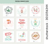 cute vector cards  notes ... | Shutterstock .eps vector #301056344