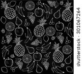 vintage fruit pattern on black... | Shutterstock . vector #301067264