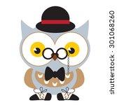 funny owl vector illustration   Shutterstock .eps vector #301068260