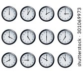 set of realistic wall clocks ... | Shutterstock . vector #301069973