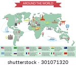 infographic world landmarks on... | Shutterstock .eps vector #301071320