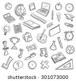 hand drawn education icons... | Shutterstock .eps vector #301073000
