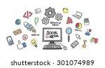 digitally generated social... | Shutterstock .eps vector #301074989