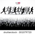 running vector silhouettes | Shutterstock .eps vector #301079720