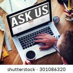 ask us inquiries questions... | Shutterstock . vector #301086320