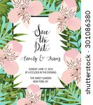 vintage wedding invitation with ... | Shutterstock .eps vector #301086380