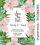 vintage wedding invitation with ... | Shutterstock .eps vector #301086380