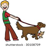 Stock photo dog walker art 30108709