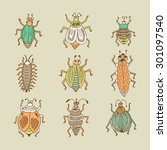 funny colorful insects. vector... | Shutterstock .eps vector #301097540
