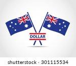 australia crossed flags emblem... | Shutterstock .eps vector #301115534