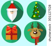 set of vector flat new year or... | Shutterstock .eps vector #301127528