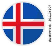 iceland flag button | Shutterstock .eps vector #301136909