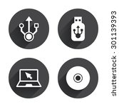 usb flash drive icons. notebook ... | Shutterstock .eps vector #301139393