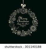 greeting card with xmas wreath | Shutterstock .eps vector #301140188