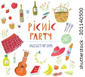 picnic party banner with funny... | Shutterstock .eps vector #301140500