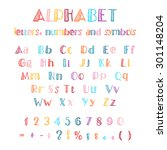 multicolor hand drawn alphabet... | Shutterstock .eps vector #301148204