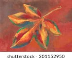 painting of colorful autumn leaf | Shutterstock . vector #301152950