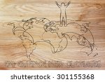 happy man standing on world map ... | Shutterstock . vector #301155368