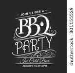 vintage calligraphic bbq party... | Shutterstock .eps vector #301155539