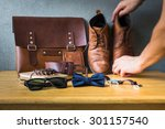 men's casual outfits on wooden... | Shutterstock . vector #301157540