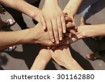 united hands close up | Shutterstock . vector #301162880