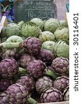 Fresh artichokes on farmer`s market, Provence, france