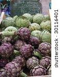 Fresh artichokes on farmer`s market, Provence, france