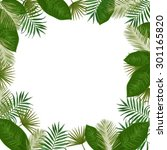 vector frame with green exotic... | Shutterstock .eps vector #301165820