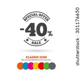 40 percent discount sign icon.... | Shutterstock .eps vector #301176650