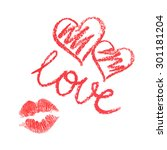 vector set of lipstick drawn... | Shutterstock .eps vector #301181204