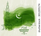 14th of august. pakistan... | Shutterstock .eps vector #301205174