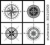 set of isolated compass roses... | Shutterstock . vector #301210520