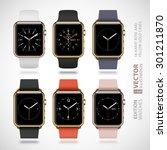 set of 6 modern shiny golden...   Shutterstock .eps vector #301211870