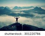 gesture of triumph. happy hiker ... | Shutterstock . vector #301220786