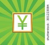 yen symbol in golden frame  on...
