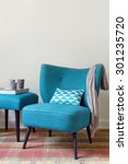 teal retro armchair and...