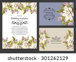 wedding invitation cards with... | Shutterstock .eps vector #301262129