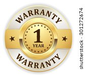 gold 1 year warranty badge on... | Shutterstock .eps vector #301272674