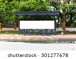 a blank white sign on bus... | Shutterstock . vector #301277678