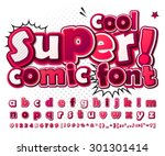 cool high detail comic font in... | Shutterstock .eps vector #301301414