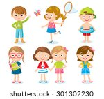 set of cute kids on holidays | Shutterstock .eps vector #301302230