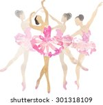 two watercolor ballerina... | Shutterstock .eps vector #301318109
